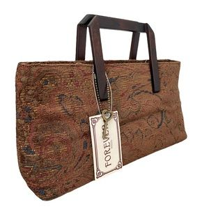 🆕 Forever by Fossil Alexandra Wood Handle Tapestry Crossbody